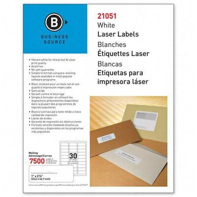 Business Source Mailing Label, Laser, 1&quot;x2-5/8&quot;, 7500 per Pack, White