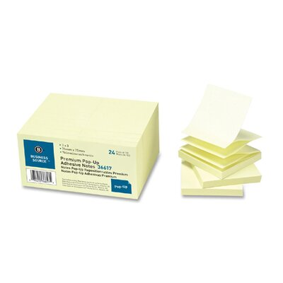 Business Source Adhesive Note Pads,Pop-up, 3&quot;x3&quot;, 100 Shetts, 24 per Pack, Yellow