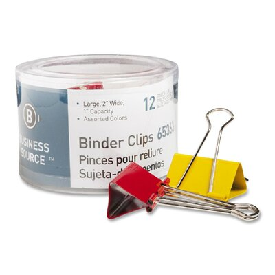 Business Source Binder Clips, Large 2&quot;W, 1&quot; Capacity, 12 per Pack, Assorted