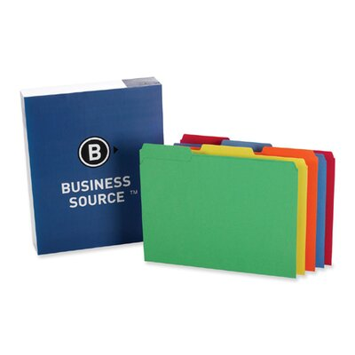 Business Source File Folder, 1-Ply, 1/3 Cut Assorted Tabs, Letter, 100 per Box, Assorted