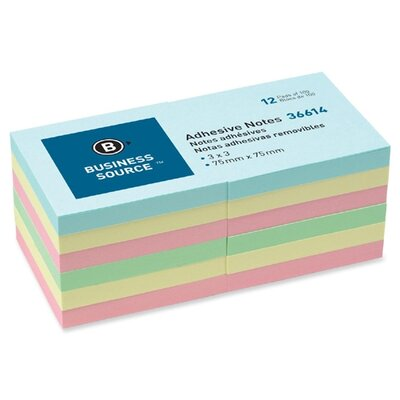 "Business Source Adhesive Note, Repositionable, 3"" x 3"", Assorted, 12 per Pack"