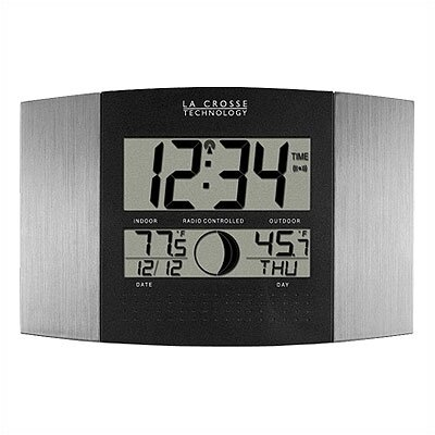 La Crosse Technology Silver Atomic Wall Clock with Moon Phase & Indoor/Outdoor Temperature