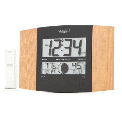 Oak & Black Atomic Wall Clock with Indoor/Outdoor Temperature