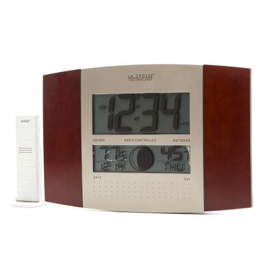 La Crosse Technology Cherry Atomic Wall Clock with Moon & Indoor/Outdoor Temperature