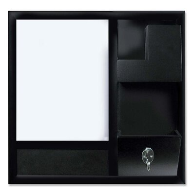 Bi-silque Visual Communication Product, Inc. Bi-silque Dry-erase Station Combo Board, w/ Bulletin Surface, 1'x1', Black