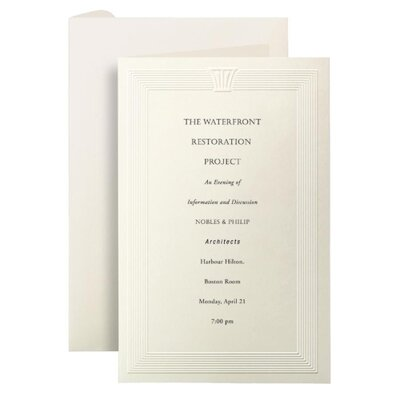 First-Base Embossed Invitation Cards, Ivory