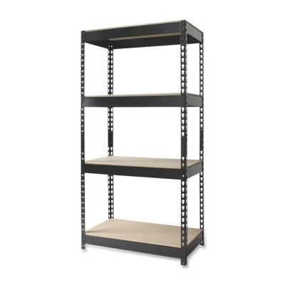 "Hirsh Industries 4-Shelf Horse Riveted Steel Unit, Steel, 30""x16""x60"", Black"