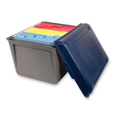 "Innovative Storage Design File Tote,18-5/16""x14-1/16""x12-3/8"",Gray Base w/ Blue Lid"