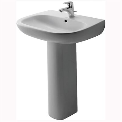 Duravit D-Code Pedestal Bathroom Sink Set with Overflow