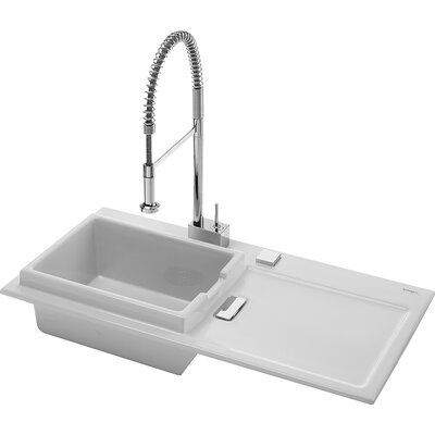 "Duravit Starck K 41"" x 21.6"" Flush Mount Kitchen Sink with Left Bowl"