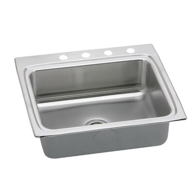 "Elkay Gourmet 25"" x 22"" x 5.5"" Stainless Steel Drop-In Single Bowl Kitchen Sink"