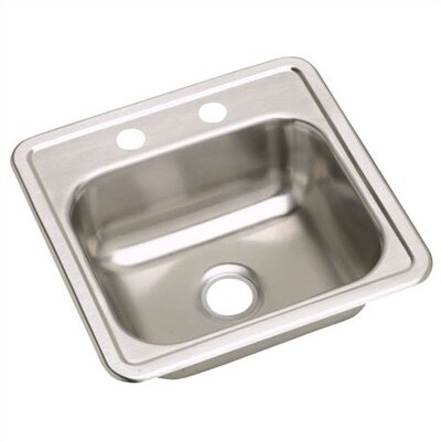 "Elkay Dayton 15"" X 15"" Two Hole Stainless Steel Bar Sink Set"