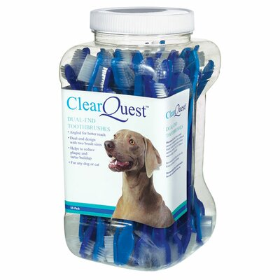 Clear Quest Dual-End Pet Toothbrushes 50 Canister