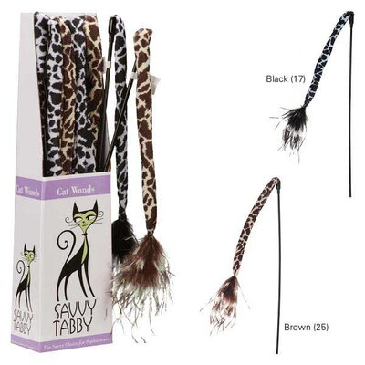 Savvy Tabby Wild Time Feather Wand Display Cat Toy (Set of 12)