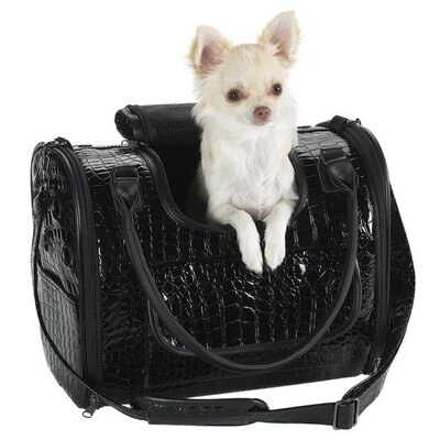 Medium Croco Dog Carrier in Black