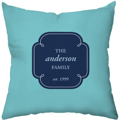 Checkerboard Personalized Family Monogram Poly Cotton Throw Pillow