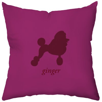 Checkerboard Personalized Poodle Poly Cotton Throw Pillow