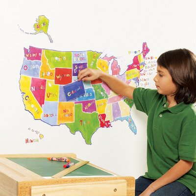 Wallies Us State Map Interactive Vinyl Peel and Stick Wall Play Mural