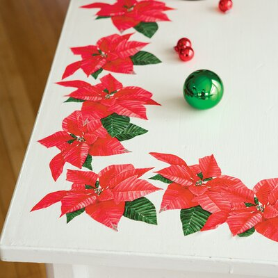 Wallies Poinsettias Peel and Stick Holiday Vinyl Decals