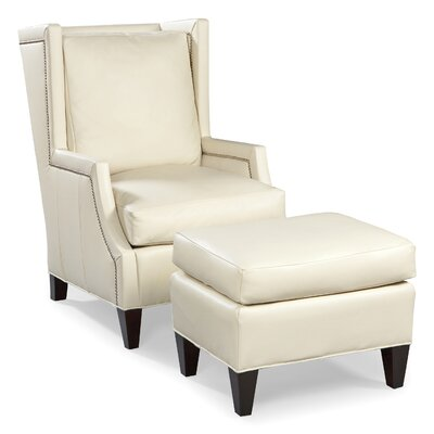 Fairfield Chair Leather High Back Wing Chair and Ottoman