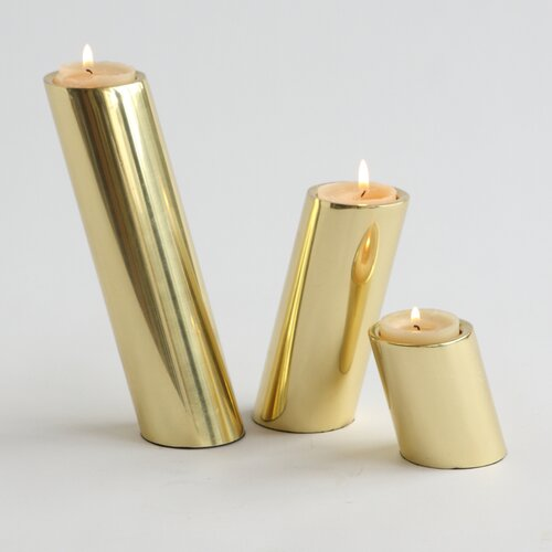 DwellStudio Slanted Candle Holders - Brass