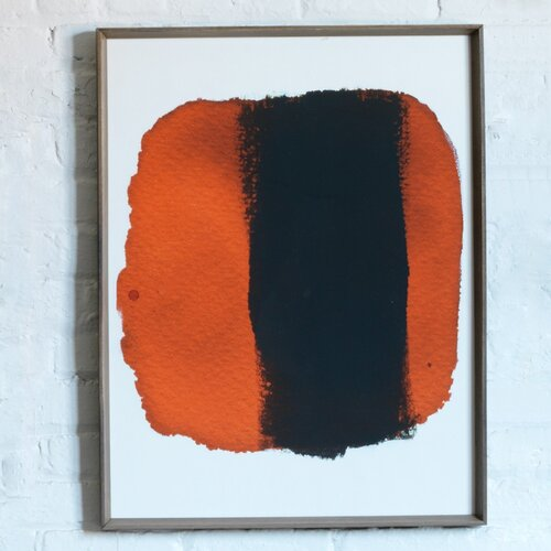 DwellStudio Black Orange Watercolor Artwork