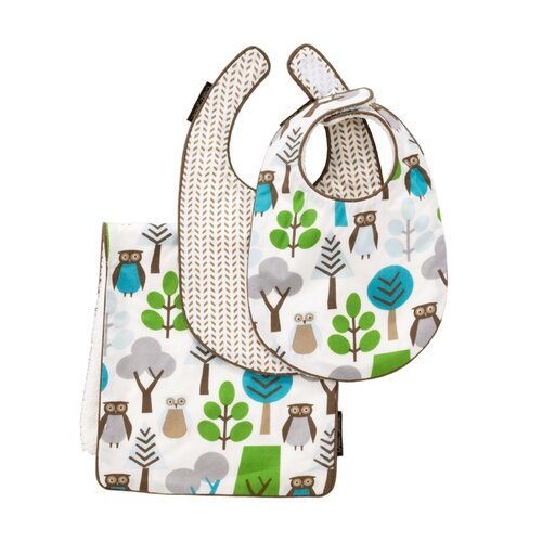 DwellStudio Owls Sky Bibs/Burp Set