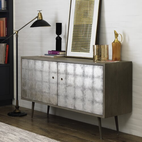 DwellStudio Franklin Media Cabinet in Silver Leaf