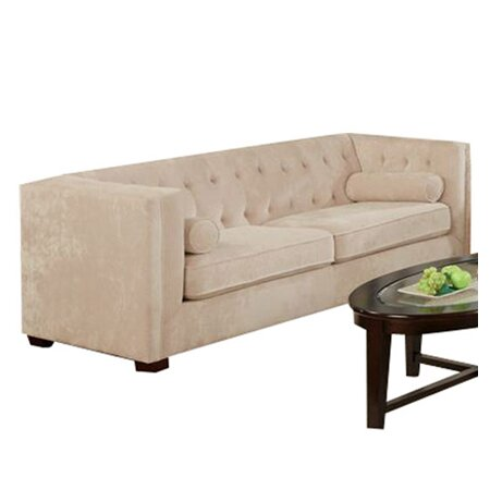 Alexa velvet sofa with button tufted in almond for Button tufted chaise settee velvet
