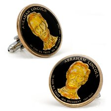 Silver Plated Abraham Lincoln Dollar Coin Cufflinks