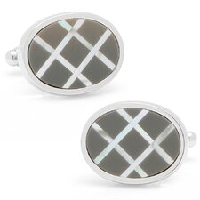 Silver Plated Hematite and Mother of Pearl Diagonal Grid Cufflinks
