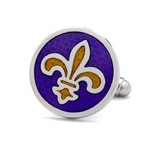 Fleur de Lis Cufflinks in Purple