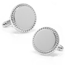 Palladium Round Engravable Cufflinks
