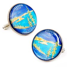 Hand Painted Oregon State Quarter Cufflinks