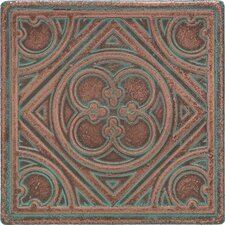 "Castle Metals 4-1/4"" x 4-1/4"" Clover Decorative Wall Tile in Aged Copper"