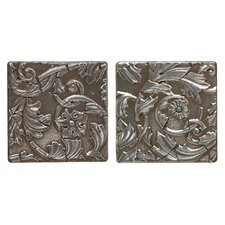 "Metal Signatures Acanthus Tumbled Stone 6"" x 6"" Decorative Tile in Aged Iron (Set of 2)"