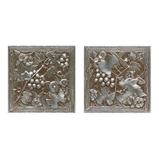 "Metal Signatures Trellis 4-1/4"" x 4-1/4"" Decorative Tile in Aged Iron (Set of 2)"