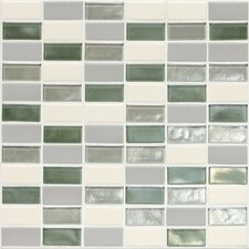 "Keystones Blends 12"" x 12"" Porcelain with Oceanside Glass Mosaic Tile in Caribbean Palm"