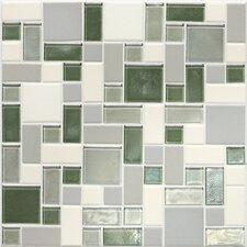 "Keystones Blends 12"" x 12"" Block Random Porcelain with Oceanside Glass  Mosaic Tile in Caribbean Palm"