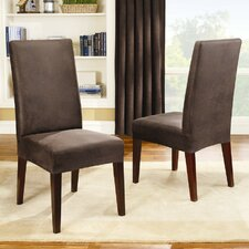 Stretch Leather Short Dining Chair Slipcover