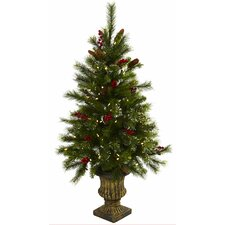 Nearly Natural 4' Green Pine Artificial Christmas Tree with 100 Warm White LED Lights with Urn