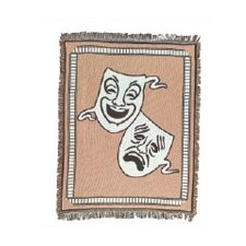 Bass Theatrical Comedy / Tragedy Mask Cotton Throw Blanket