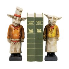 Two Piece Chef Pig Bookend Set