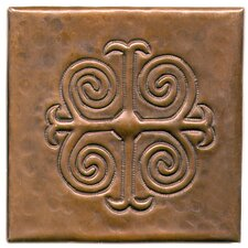 "Spanish Cross 4"" x 4"" Copper Tile in Dark Copper"