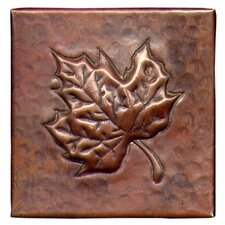 "Oak leaf 4"" x 4"" Copper Tile in Dark Copper"
