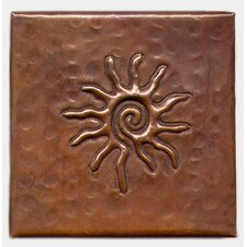 "Infinite Sun 4"" x 4"" Copper Tile in Dark Copper"