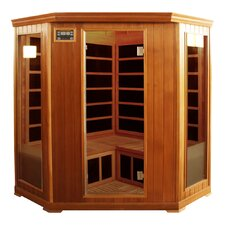 3-4 Person Corner Cedar Infrared Sauna with Ten Carbon Heaters and Color Therapy Lights