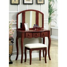 Sophisticated Vanity Set with Padded Stool and Mirror