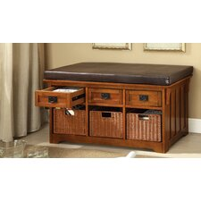 Leatherette Storage Entryway Bench