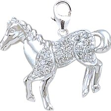 14K White Gold Diamond Horse Charm